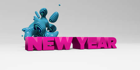 free image: NEW YEAR -  color type on white studiobackground with design element - 3D rendered royalty free stock picture. This image can be used for an online website banner ad or a print postcard.