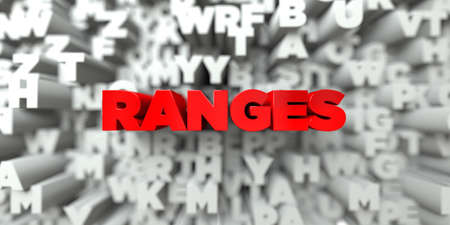 ranges: RANGES -  Red text on typography background - 3D rendered royalty free stock image. This image can be used for an online website banner ad or a print postcard. Stock Photo