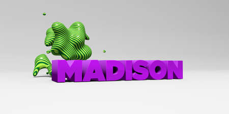 MADISON -  color type on white studiobackground with design element - 3D rendered royalty free stock picture. This image can be used for an online website banner ad or a print postcard.