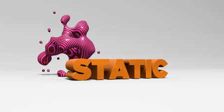 STATIC -  color type on white studiobackground with design element - 3D rendered royalty free stock picture. This image can be used for an online website banner ad or a print postcard. Stock Photo