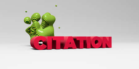 citation: CITATION -  color type on white studiobackground with design element - 3D rendered royalty free stock picture. This image can be used for an online website banner ad or a print postcard. Stock Photo