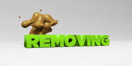removing: REMOVING -  color type on white studiobackground with design element - 3D rendered royalty free stock picture. This image can be used for an online website banner ad or a print postcard.