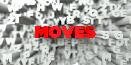 sentence typescript: MOVES -  Red text on typography background - 3D rendered royalty free stock image. This image can be used for an online website banner ad or a print postcard.