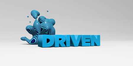 driven: DRIVEN -  color type on white studiobackground with design element - 3D rendered royalty free stock picture. This image can be used for an online website banner ad or a print postcard. Stock Photo