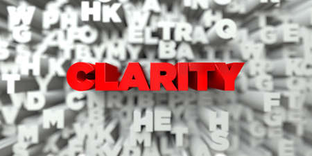 royalty: CLARITY -  Red text on typography background - 3D rendered royalty free stock image. This image can be used for an online website banner ad or a print postcard.