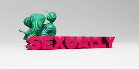 SEXUALLY -  color type on white studiobackground with design element - 3D rendered royalty free stock picture. This image can be used for an online website banner ad or a print postcard.