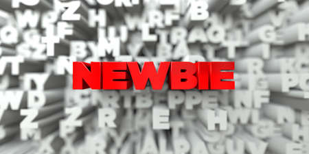 newbie: NEWBIE -  Red text on typography background - 3D rendered royalty free stock image. This image can be used for an online website banner ad or a print postcard. Stock Photo