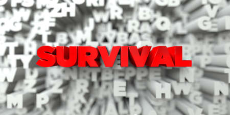 survival: SURVIVAL -  Red text on typography background - 3D rendered royalty free stock image. This image can be used for an online website banner ad or a print postcard. Stock Photo