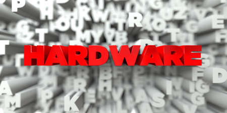 free stock: HARDWARE -  Red text on typography background - 3D rendered royalty free stock image. This image can be used for an online website banner ad or a print postcard.