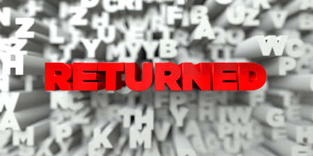 returned: RETURNED -  Red text on typography background - 3D rendered royalty free stock image. This image can be used for an online website banner ad or a print postcard.