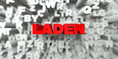 laden: LADEN -  Red text on typography background - 3D rendered royalty free stock image. This image can be used for an online website banner ad or a print postcard. Stock Photo