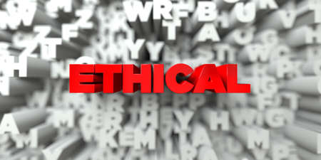 ethical: ETHICAL -  Red text on typography background - 3D rendered royalty free stock image. This image can be used for an online website banner ad or a print postcard. Stock Photo