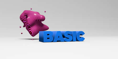 basic letters: BASIC -  color type on white studiobackground with design element - 3D rendered royalty free stock picture. This image can be used for an online website banner ad or a print postcard. Stock Photo