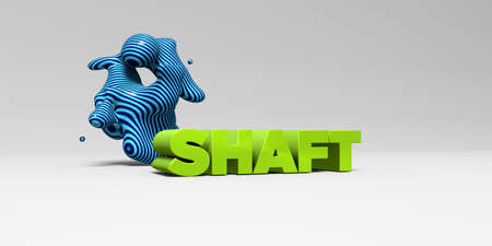 shaft: SHAFT -  color type on white studiobackground with design element - 3D rendered royalty free stock picture. This image can be used for an online website banner ad or a print postcard. Stock Photo