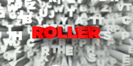 free stock: ROLLER -  Red text on typography background - 3D rendered royalty free stock image. This image can be used for an online website banner ad or a print postcard.