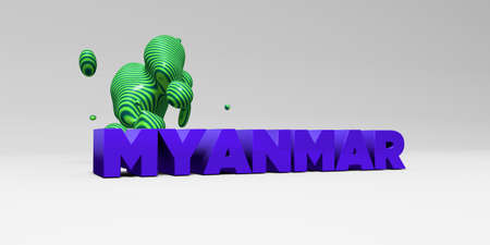 MYANMAR -  color type on white studiobackground with design element - 3D rendered royalty free stock picture. This image can be used for an online website banner ad or a print postcard.