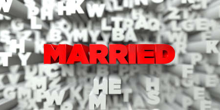 MARRIED -  Red text on typography background - 3D rendered royalty free stock image. This image can be used for an online website banner ad or a print postcard.