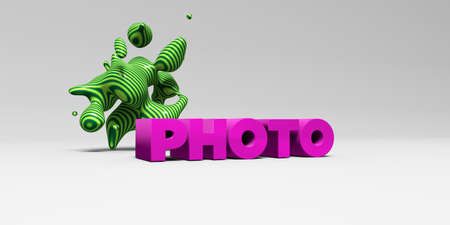 royalty free photo: PHOTO -  color type on white studiobackground with design element - 3D rendered royalty free stock picture. This image can be used for an online website banner ad or a print postcard.