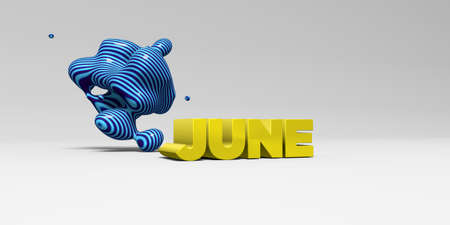 JUNE -  color type on white studiobackground with design element - 3D rendered royalty free stock picture. This image can be used for an online website banner ad or a print postcard. Imagens