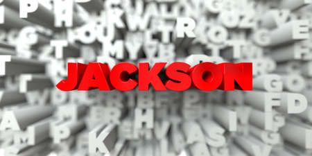free stock: JACKSON -  Red text on typography background - 3D rendered royalty free stock image. This image can be used for an online website banner ad or a print postcard.
