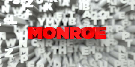 monroe: MONROE -  Red text on typography background - 3D rendered royalty free stock image. This image can be used for an online website banner ad or a print postcard.