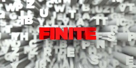 finite: FINITE -  Red text on typography background - 3D rendered royalty free stock image. This image can be used for an online website banner ad or a print postcard.