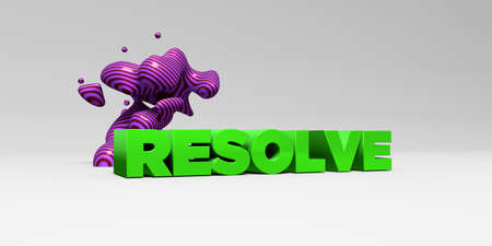 RESOLVE -  color type on white studiobackground with design element - 3D rendered royalty free stock picture. This image can be used for an online website banner ad or a print postcard.