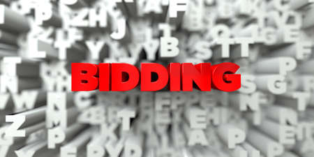bidding: BIDDING -  Red text on typography background - 3D rendered royalty free stock image. This image can be used for an online website banner ad or a print postcard. Stock Photo