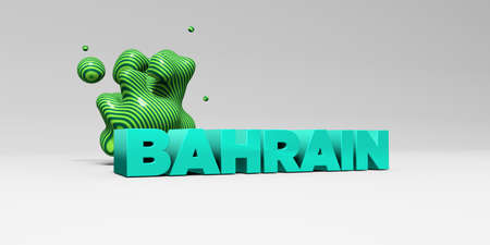BAHRAIN -  color type on white studiobackground with design element - 3D rendered royalty free stock picture. This image can be used for an online website banner ad or a print postcard.