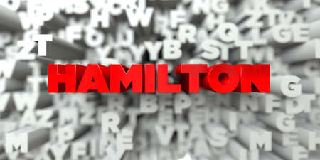 hamilton: HAMILTON -  Red text on typography background - 3D rendered royalty free stock image. This image can be used for an online website banner ad or a print postcard. Stock Photo