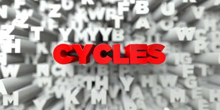 ciclos: CICLOS - texto rojo en el fondo de la tipografía - 3D representa la imagen de stock libre de imágenes. Esta imagen se puede utilizar para un anuncio bandera del Web site en línea o una postal de impresión.