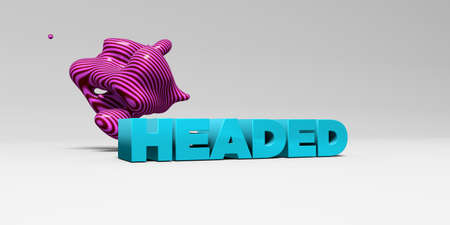 three headed: HEADED -  color type on white studiobackground with design element - 3D rendered royalty free stock picture. This image can be used for an online website banner ad or a print postcard.