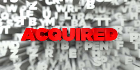 acquired: ACQUIRED -  Red text on typography background - 3D rendered royalty free stock image. This image can be used for an online website banner ad or a print postcard.