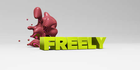 freely: FREELY -  color type on white studiobackground with design element - 3D rendered royalty free stock picture. This image can be used for an online website banner ad or a print postcard.