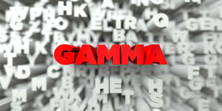 GAMMA -  Red text on typography background - 3D rendered royalty free stock image. This image can be used for an online website banner ad or a print postcard.