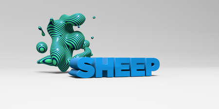 SHEEP -  color type on white studiobackground with design element - 3D rendered royalty free stock picture. This image can be used for an online website banner ad or a print postcard.