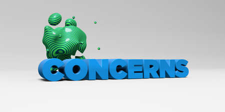 concerns: CONCERNS -  color type on white studiobackground with design element - 3D rendered royalty free stock picture. This image can be used for an online website banner ad or a print postcard. Stock Photo