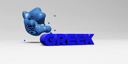 GREEK -  color type on white studiobackground with design element - 3D rendered royalty free stock picture. This image can be used for an online website banner ad or a print postcard.