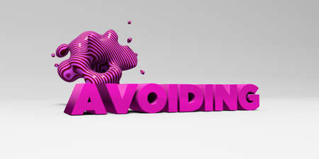 avoiding: AVOIDING -  color type on white studiobackground with design element - 3D rendered royalty free stock picture. This image can be used for an online website banner ad or a print postcard.
