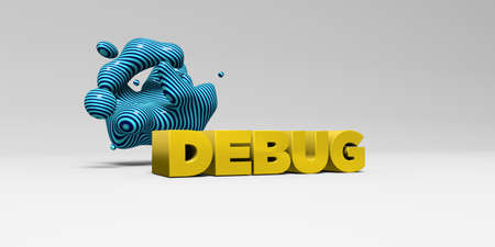 DEBUG -  color type on white studiobackground with design element - 3D rendered royalty free stock picture. This image can be used for an online website banner ad or a print postcard.