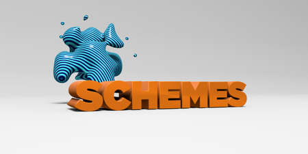 schemes: SCHEMES -  color type on white studiobackground with design element - 3D rendered royalty free stock picture. This image can be used for an online website banner ad or a print postcard.