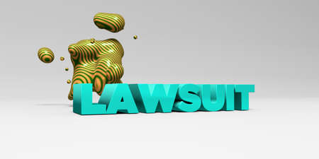 lawsuit: LAWSUIT -  color type on white studiobackground with design element - 3D rendered royalty free stock picture. This image can be used for an online website banner ad or a print postcard.