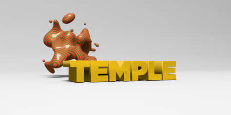 TEMPLE -  color type on white studiobackground with design element - 3D rendered royalty free stock picture. This image can be used for an online website banner ad or a print postcard.