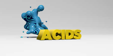 acids: ACIDS -  color type on white studiobackground with design element - 3D rendered royalty free stock picture. This image can be used for an online website banner ad or a print postcard. Stock Photo