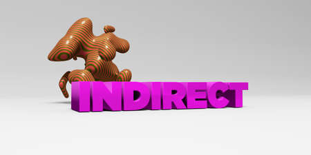 indirect: INDIRECT -  color type on white studiobackground with design element - 3D rendered royalty free stock picture. This image can be used for an online website banner ad or a print postcard. Stock Photo