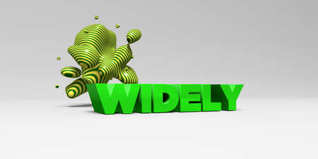 widely: WIDELY -  color type on white studiobackground with design element - 3D rendered royalty free stock picture. This image can be used for an online website banner ad or a print postcard.