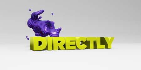 DIRECTLY -  color type on white studiobackground with design element - 3D rendered royalty free stock picture. This image can be used for an online website banner ad or a print postcard.