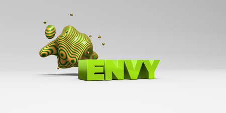 envy: ENVY -  color type on white studiobackground with design element - 3D rendered royalty free stock picture. This image can be used for an online website banner ad or a print postcard. Stock Photo