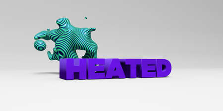 heated: HEATED -  color type on white studiobackground with design element - 3D rendered royalty free stock picture. This image can be used for an online website banner ad or a print postcard. Stock Photo
