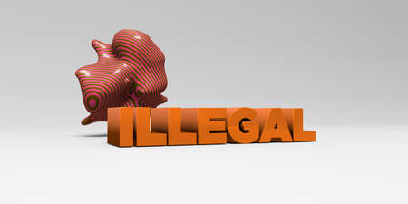 ILLEGAL -  color type on white studiobackground with design element - 3D rendered royalty free stock picture. This image can be used for an online website banner ad or a print postcard.